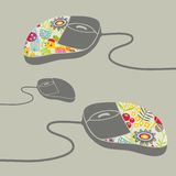 Computer mouse decorated with design print. Stock Photo