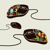 Computer mouse decorated with design print. Stock Images