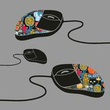 Computer mouse decorated with design print. Stock Image