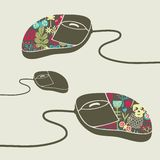 Computer mouse decorated with design print. Royalty Free Stock Photos