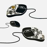 Computer mouse decorated with design print. Stock Photography