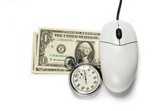Computer mouse with dollar Stock Photo