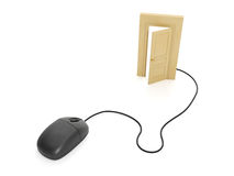 Computer mouse and the door Stock Image
