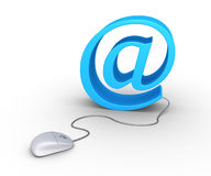 Computer mouse and e-mail. 3d computer mouse connected to an e-mail symbol Royalty Free Stock Image