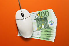 Computer mouse and euro banknotes Royalty Free Stock Image