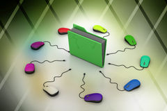 Computer mouse with file folder. In color background Stock Photo