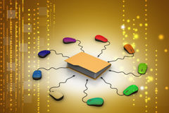 Computer mouse with file folder. In color background Royalty Free Stock Images