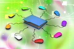 Computer mouse with file folder. In color background Stock Photos