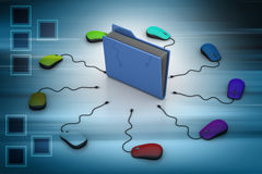Computer mouse with file folder. In color background Stock Image