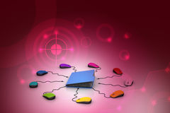 Computer mouse with file folder. In color background Stock Images