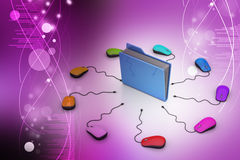 Computer mouse with file folder. In color background Royalty Free Stock Image