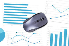 Computer Mouse with Financial Charts Royalty Free Stock Images