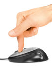 Computer mouse and finger Stock Photo