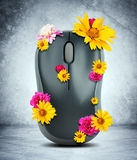 Computer mouse with flowers Royalty Free Stock Image