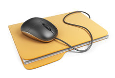 Computer mouse on folder. 3D Icon. On white background Stock Images