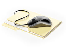 Computer mouse on folder. Isolated on a white background Stock Photo