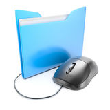 Computer mouse with folder Stock Image
