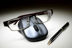 Computer mouse with glasses Royalty Free Stock Photography