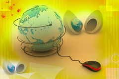 computer mouse with globe Stock Photos