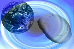 Computer Mouse and Globe. Space Abstract Illustration - Globe - Mouse Royalty Free Stock Photo