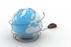 computer mouse with globe Stock Photo