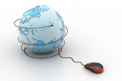 computer mouse with globe Royalty Free Stock Images