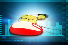 Computer mouse with gold coin Stock Photography
