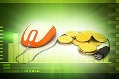 Computer mouse with gold coin Stock Photo