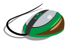 The computer mouse is green. Stock Photos