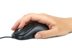 Computer mouse in hand. Index finger over the scroll wheel. Isolated on the white background Royalty Free Stock Images