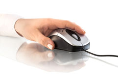 Computer mouse and hand. With reflection Royalty Free Stock Photos