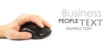 Computer mouse with hand. Over white Royalty Free Stock Images