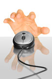 Computer mouse and hand Royalty Free Stock Image