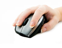 Computer mouse with hand. On white Stock Photography