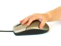 Computer mouse and hand Royalty Free Stock Images