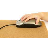 Computer mouse and hand Stock Images