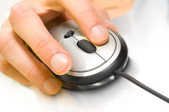 Computer mouse with hand Stock Photo