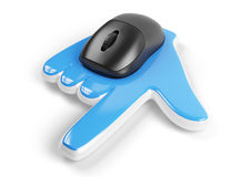 Computer mouse with hand cursor. On white background. 3d rendered image Royalty Free Stock Image