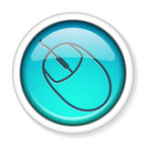 Computer mouse icon button. Computer mouse icon inside a round glossy shiny button. EPS10 Royalty Free Stock Image