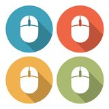 Computer mouse icons. Vector set of computer mouse rounded and colored buttons and icons isolated on white background. Flat modern style with long shadows Stock Images