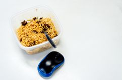 Computer mouse and Instand noodle for office man Stock Photos