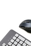 Computer mouse and keyboard on white background with copy space Stock Image