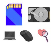 Computer mouse, laptop and other equipment. Personal computer set collection icons in cartoon style vector symbol stock. Computer mouse, laptop and other Royalty Free Stock Photography
