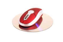 Computer mouse with laser disc isolated Royalty Free Stock Images