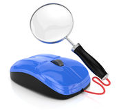 Computer mouse and magnifier glass Stock Photos