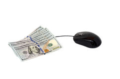 Computer mouse and money Royalty Free Stock Photos