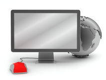 Computer mouse, monitor and earth globe. On white background vector illustration