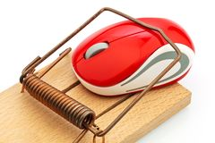 Computer mouse in mousetrap. The mouse of a computer in a mousetrap. representative photo of the event costs, debt trap, and roaming charges Royalty Free Stock Images