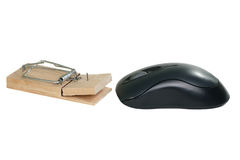 Computer mouse and mousetrap Stock Photo