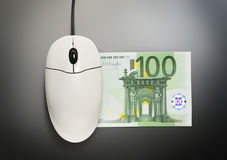 Computer mouse and one hundred euro banknote Royalty Free Stock Photo